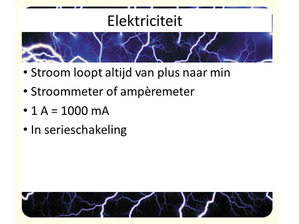 Stroom loopt altijd van plus naar min Stroommeter of ampèremeter 1 A = 1000 mA In serieschakeling
