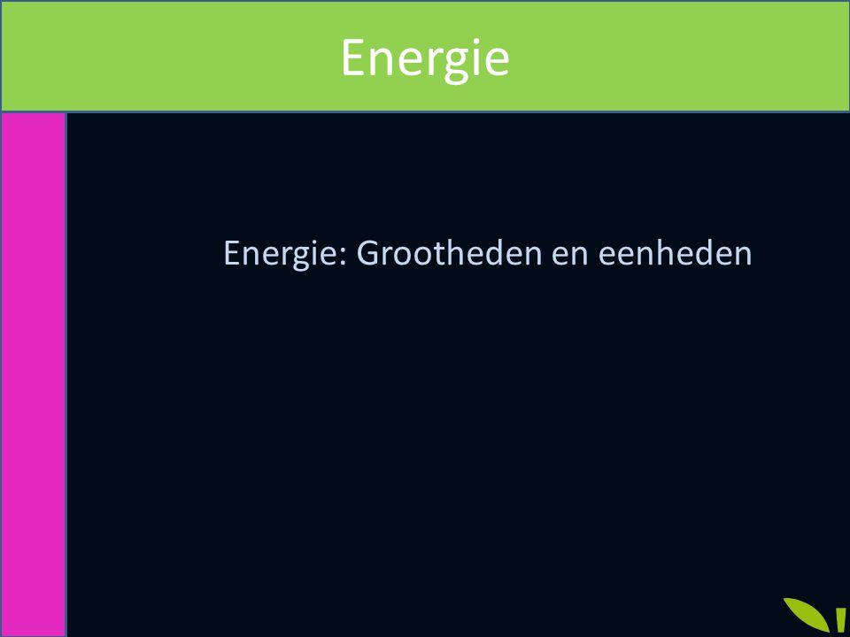 Energie: Grootheden en eenheden Energie