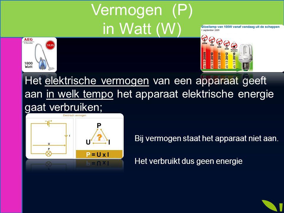 Vermogen (P) in Watt (W) Het elektrische vermogen van een apparaat geeft aan in welk tempo het apparaat elektrische energie gaat verbruiken; Bij vermo