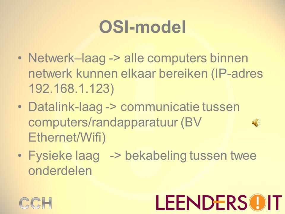 OSI-model Netwerk–laag -> alle computers binnen netwerk kunnen elkaar bereiken (IP-adres 192.168.1.123) Datalink-laag -> communicatie tussen computers