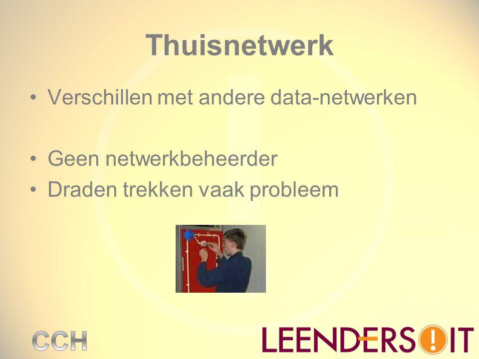 Thuisnetwerk Verschillen met andere data-netwerken Geen netwerkbeheerder Draden trekken vaak probleem