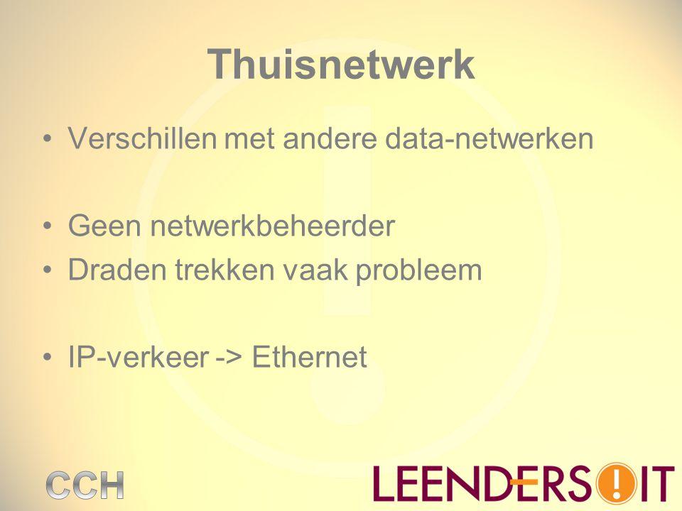 Thuisnetwerk Verschillen met andere data-netwerken Geen netwerkbeheerder Draden trekken vaak probleem IP-verkeer -> Ethernet