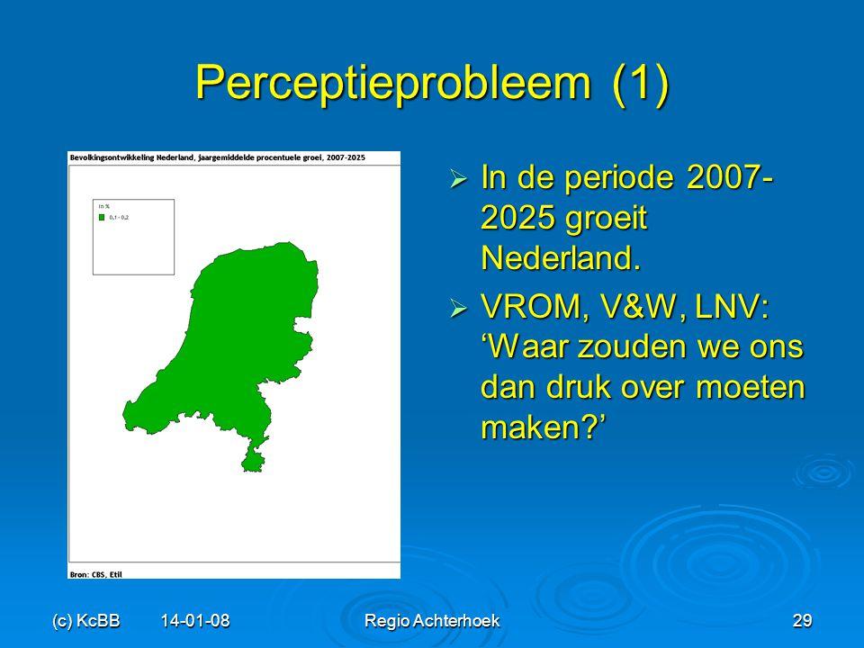 (c) KcBB 14-01-08Regio Achterhoek29 Perceptieprobleem (1)  In de periode 2007- 2025 groeit Nederland.  VROM, V&W, LNV: 'Waar zouden we ons dan druk
