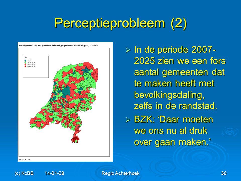 (c) KcBB 14-01-08Regio Achterhoek30 Perceptieprobleem (2)  In de periode 2007- 2025 zien we een fors aantal gemeenten dat te maken heeft met bevolkin