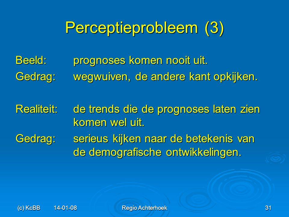 (c) KcBB 14-01-08Regio Achterhoek31 Perceptieprobleem (3) Beeld: prognoses komen nooit uit. Gedrag: wegwuiven, de andere kant opkijken. Realiteit:de t
