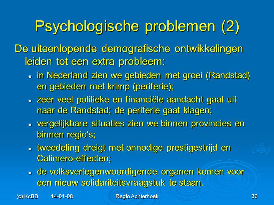 (c) KcBB 14-01-08Regio Achterhoek36 Psychologische problemen (2) De uiteenlopende demografische ontwikkelingen leiden tot een extra probleem: in Neder