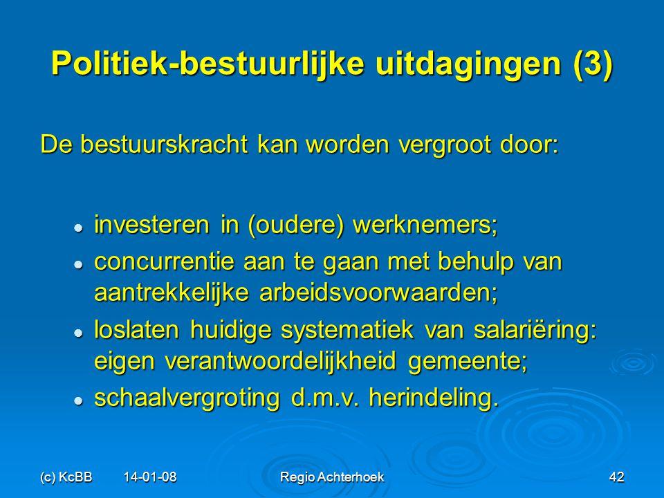 (c) KcBB 14-01-08Regio Achterhoek42 Politiek-bestuurlijke uitdagingen (3) De bestuurskracht kan worden vergroot door: investeren in (oudere) werknemer