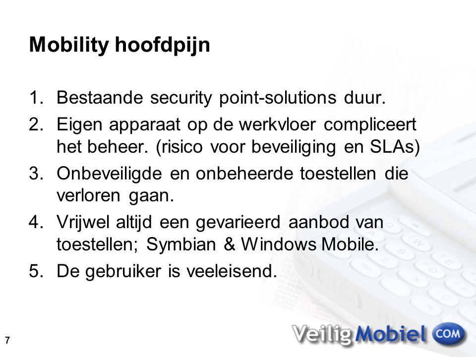 7 Mobility hoofdpijn 1.Bestaande security point-solutions duur.