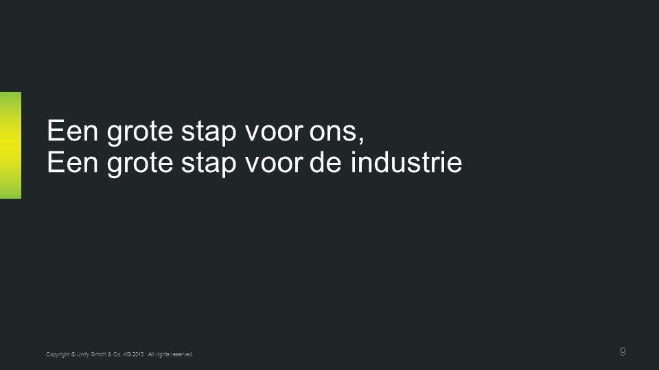 Een grote stap voor ons, Een grote stap voor de industrie Copyright © Unify GmbH & Co. KG 2013. All rights reserved. 9