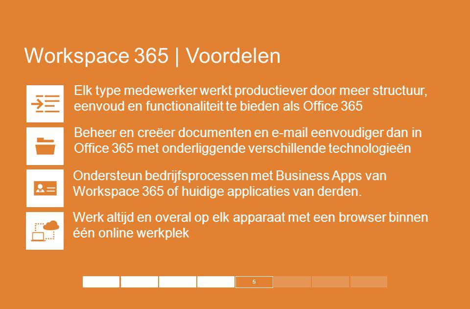 5 Workspace 365 | Voordelen Elk type medewerker werkt productiever door meer structuur, eenvoud en functionaliteit te bieden als Office 365 Beheer en