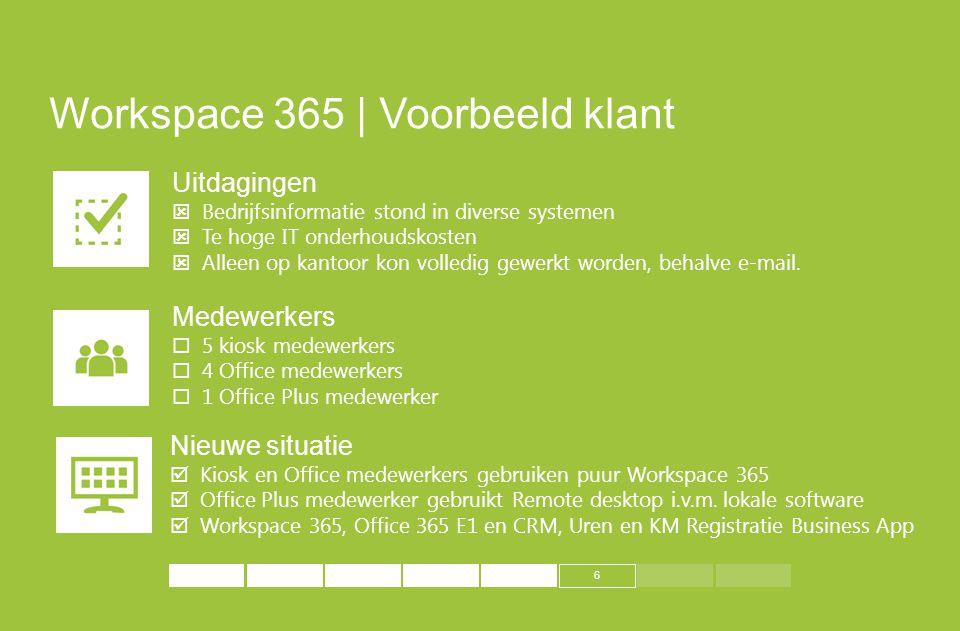 6 Workspace 365 | Voorbeeld klant Uitdagingen  Bedrijfsinformatie stond in diverse systemen  Te hoge IT onderhoudskosten  Alleen op kantoor kon vol