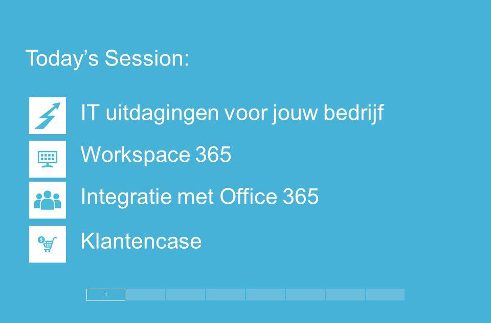 1 Today's Session: IT uitdagingen voor jouw bedrijf Workspace 365. Integratie met Office 365. Klantencase