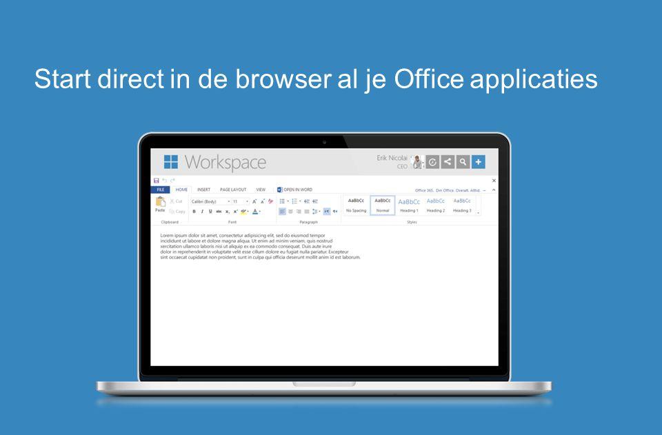 Start direct in de browser al je Office applicaties