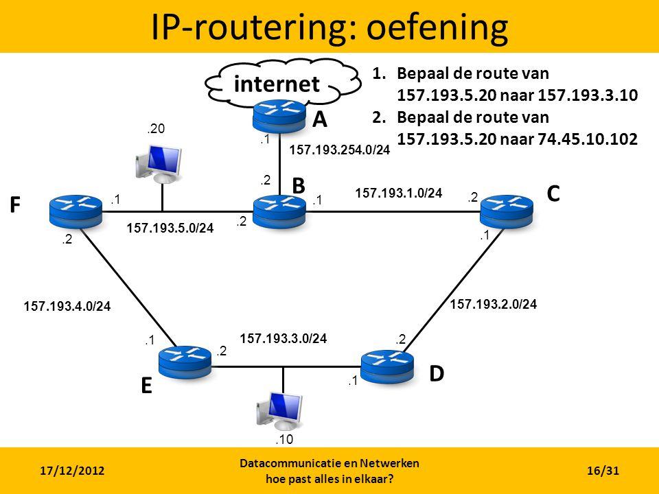 internet 17/12/2012 Datacommunicatie en Netwerken hoe past alles in elkaar? 16/31 IP-routering: oefening A B C D E F 157.193.4.0/24 157.193.3.0/24 157