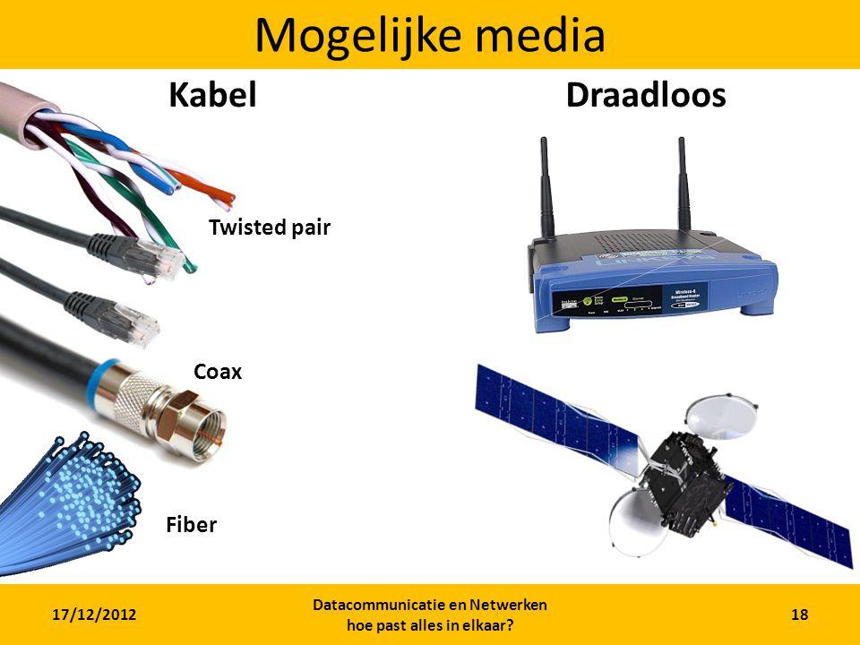 17/12/2012 Datacommunicatie en Netwerken hoe past alles in elkaar? 18 Mogelijke media KabelDraadloos Twisted pair Coax Fiber