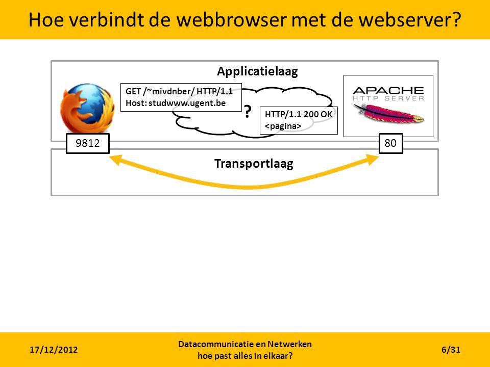 17/12/2012 Datacommunicatie en Netwerken hoe past alles in elkaar? 6/31 Hoe verbindt de webbrowser met de webserver? 809812 ? Applicatielaag GET /~miv