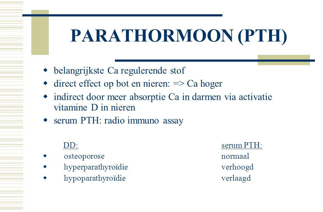 PARATHORMOON (PTH)  belangrijkste Ca regulerende stof  direct effect op bot en nieren: => Ca hoger  indirect door meer absorptie Ca in darmen via activatie vitamine D in nieren  serum PTH: radio immuno assay DD:serum PTH:  osteoporosenormaal  hyperparathyroïdieverhoogd  hypoparathyroïdieverlaagd