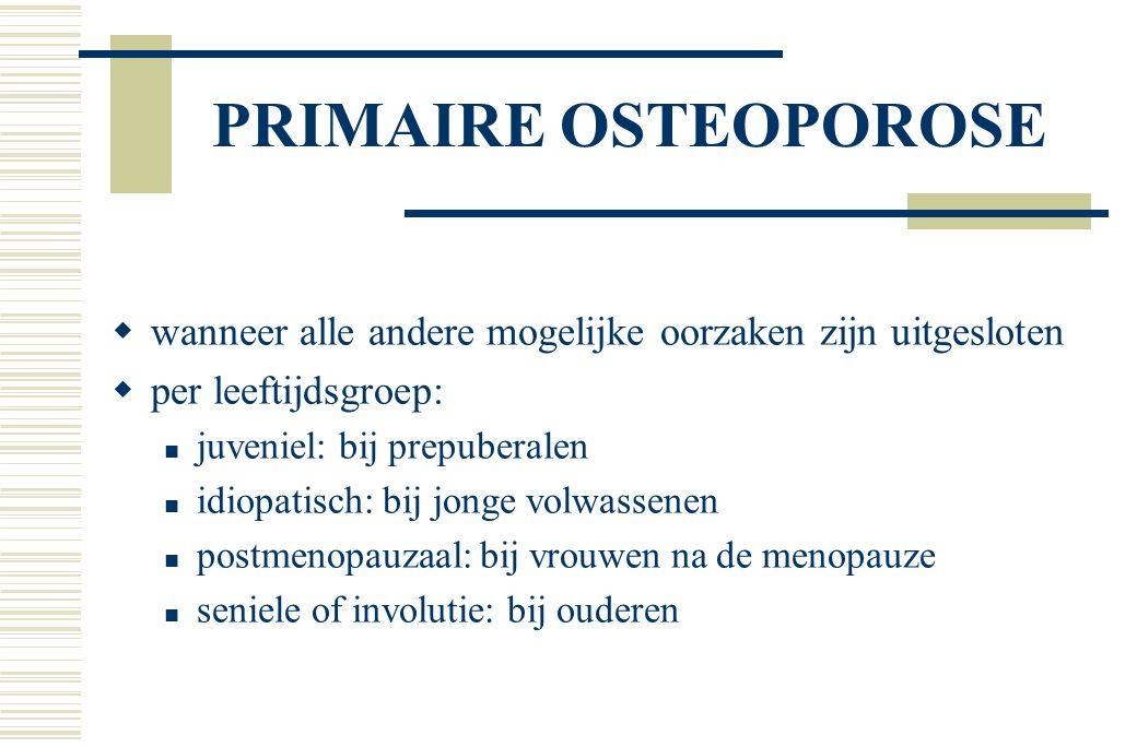 postmenopauzale osteoporose  menopauze periode na de laatste menstruatie gemiddeld 53 jaar in NL te vroeg: < 45 jaar  negatieve botbalans  toegenomen aantal botombouweenheden