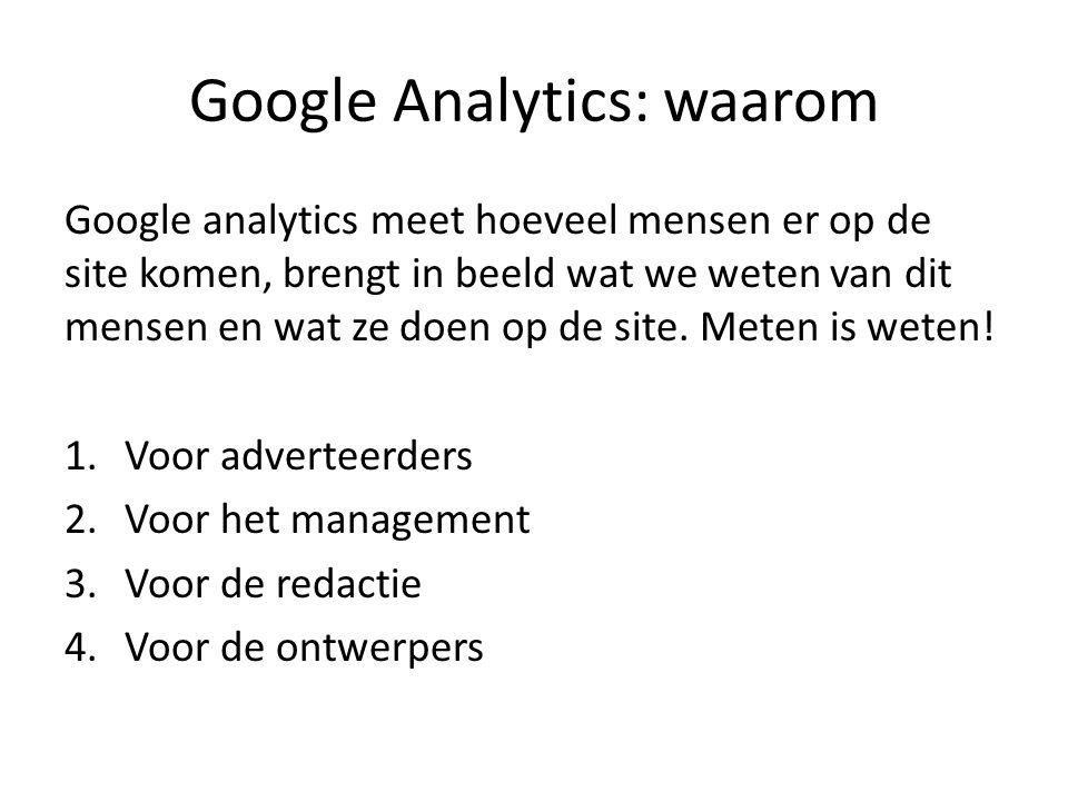 Google Analytics: waarom Google analytics meet hoeveel mensen er op de site komen, brengt in beeld wat we weten van dit mensen en wat ze doen op de site.
