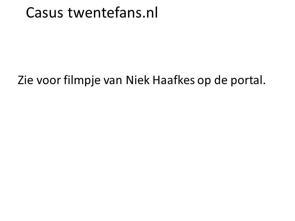 Casus twentefans.nl Zie voor filmpje van Niek Haafkes op de portal.