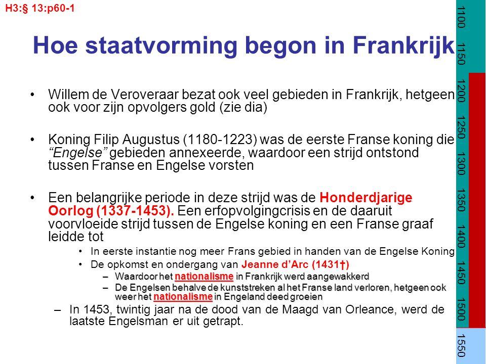 Hoe staatvorming begon in Frankrijk Willem de Veroveraar bezat ook veel gebieden in Frankrijk, hetgeen ook voor zijn opvolgers gold (zie dia) Koning F