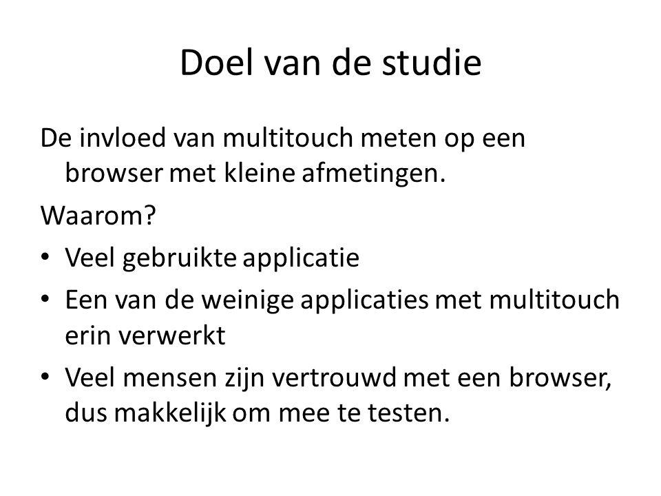 Doel van de studie De invloed van multitouch meten op een browser met kleine afmetingen.