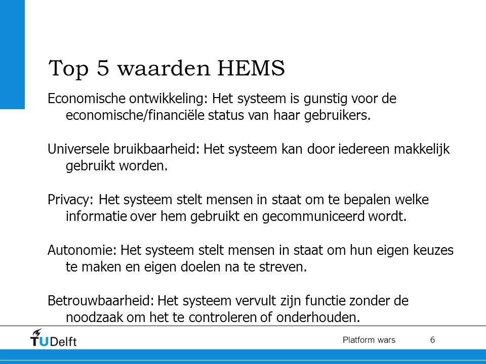6 Platform wars Top 5 waarden HEMS Economische ontwikkeling: Het systeem is gunstig voor de economische/financiële status van haar gebruikers.