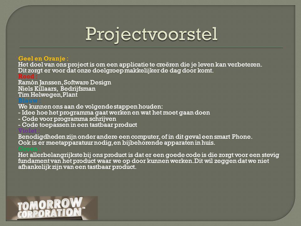 Geel en Oranje : Het doel van ons project is om een applicatie te creëren die je leven kan verbeteren.