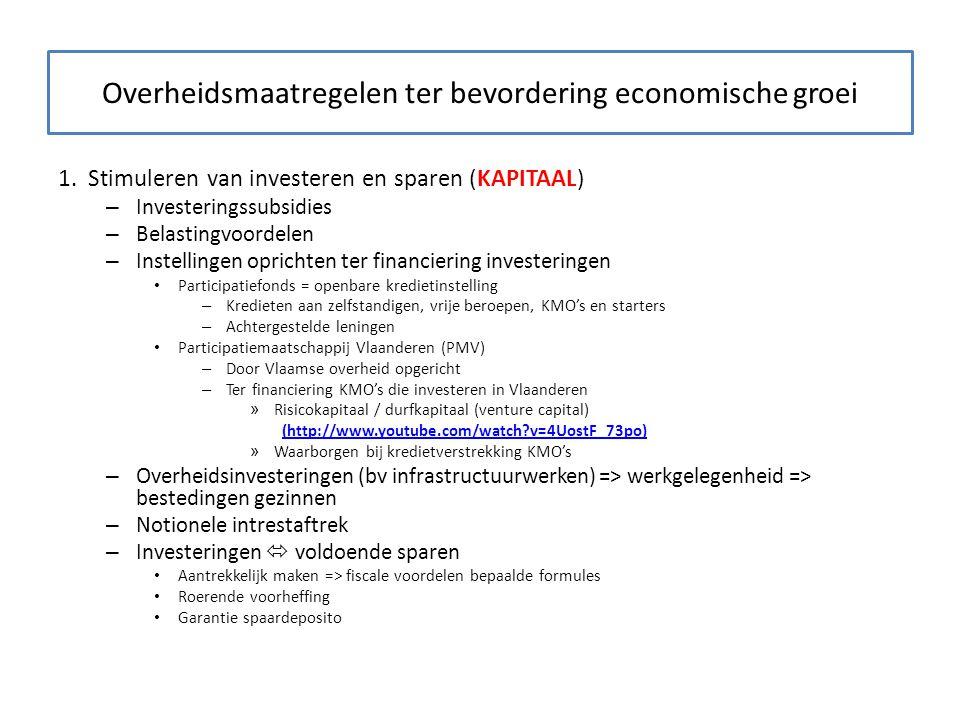 Overheidsmaatregelen ter bevordering economische groei 1. Stimuleren van investeren en sparen (KAPITAAL) – Investeringssubsidies – Belastingvoordelen