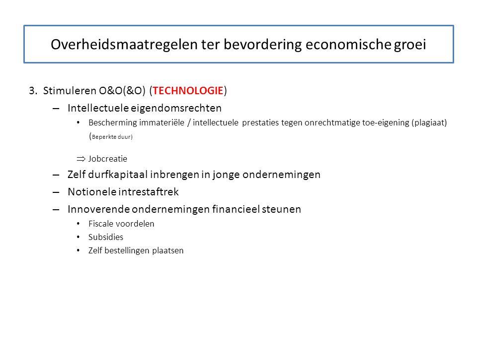 Overheidsmaatregelen ter bevordering economische groei 3. Stimuleren O&O(&O) (TECHNOLOGIE) – Intellectuele eigendomsrechten Bescherming immateriële /