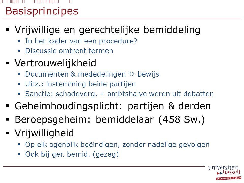 Basisprincipes  Vrijwillige en gerechtelijke bemiddeling  In het kader van een procedure.