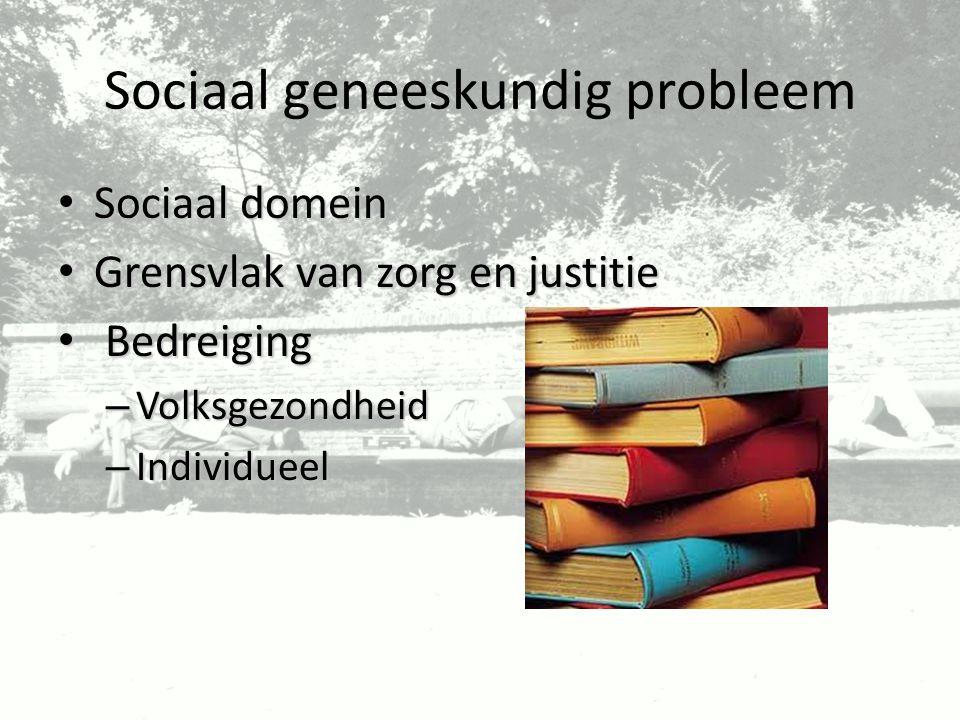 Sociaal geneeskundig probleem Sociaal domein Sociaal domein Grensvlak van zorg en justitie Grensvlak van zorg en justitie Bedreiging Bedreiging – Volk