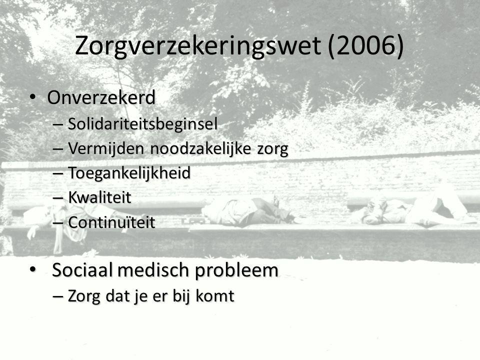 Zorgverzekeringswet (2006) Onverzekerd Onverzekerd – Solidariteitsbeginsel – Vermijden noodzakelijke zorg – Toegankelijkheid – Kwaliteit – Continuïtei