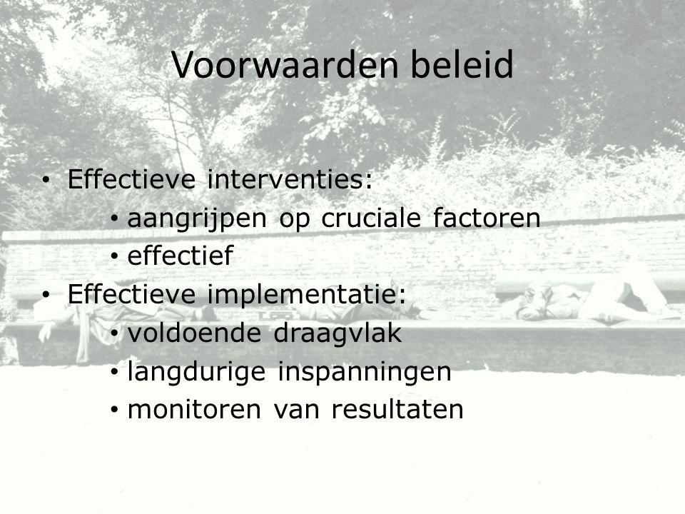 Voorwaarden beleid Effectieve interventies: aangrijpen op cruciale factoren effectief Effectieve implementatie: voldoende draagvlak langdurige inspann