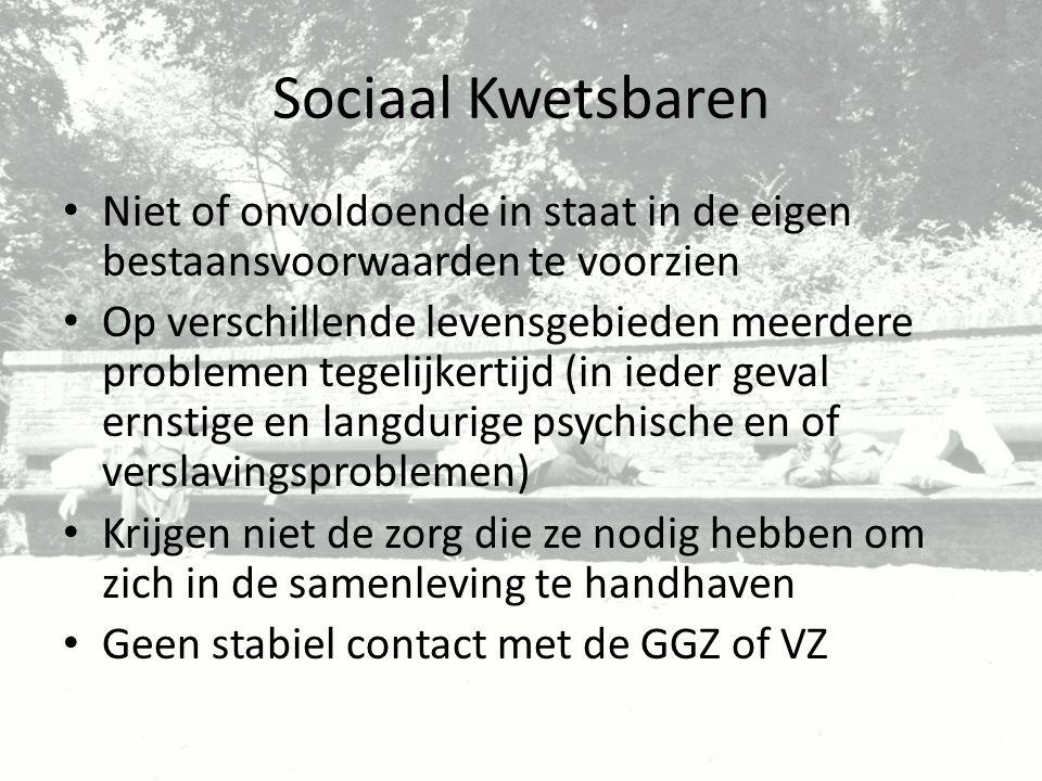 Sociaal Kwetsbaren Niet of onvoldoende in staat in de eigen bestaansvoorwaarden te voorzien Op verschillende levensgebieden meerdere problemen tegelij