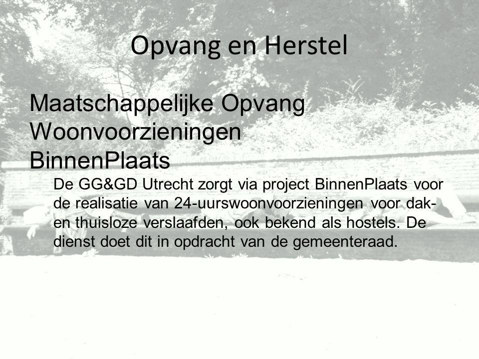 Opvang en Herstel Maatschappelijke Opvang Woonvoorzieningen BinnenPlaats De GG&GD Utrecht zorgt via project BinnenPlaats voor de realisatie van 24-uur