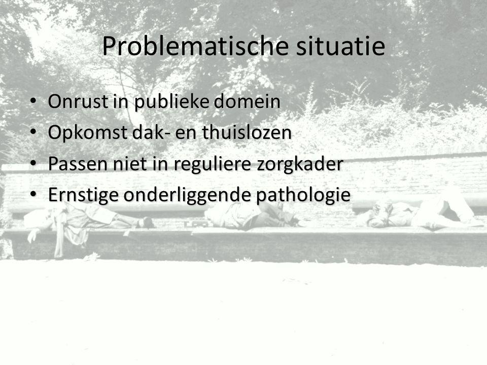 Problematische situatie Onrust in publieke domein Onrust in publieke domein Opkomst dak- en thuislozen Opkomst dak- en thuislozen Passen niet in regul