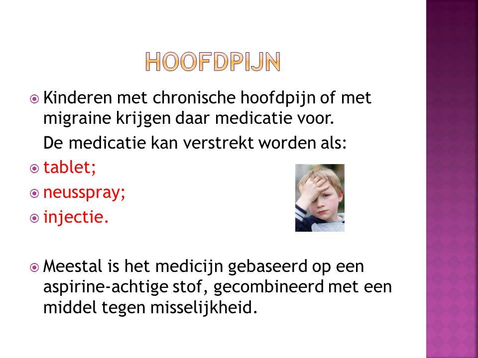  Kinderen met chronische hoofdpijn of met migraine krijgen daar medicatie voor.