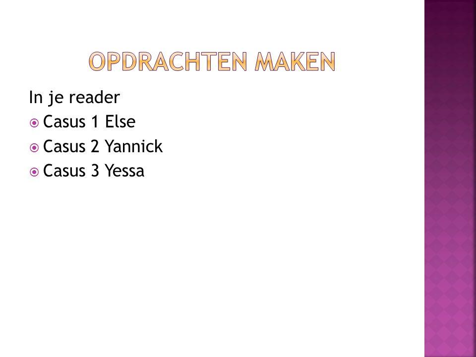 In je reader  Casus 1 Else  Casus 2 Yannick  Casus 3 Yessa
