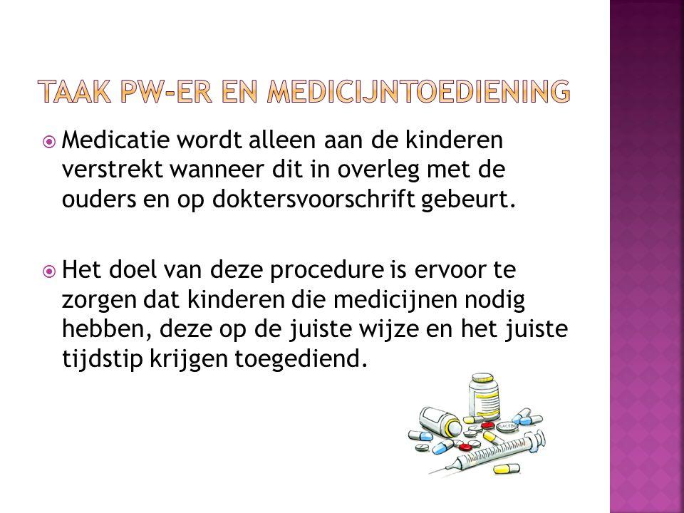  Medicatie wordt alleen aan de kinderen verstrekt wanneer dit in overleg met de ouders en op doktersvoorschrift gebeurt.
