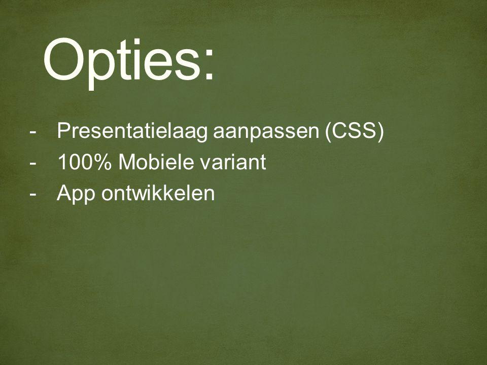 Opties: -Presentatielaag aanpassen (CSS) -100% Mobiele variant -App ontwikkelen