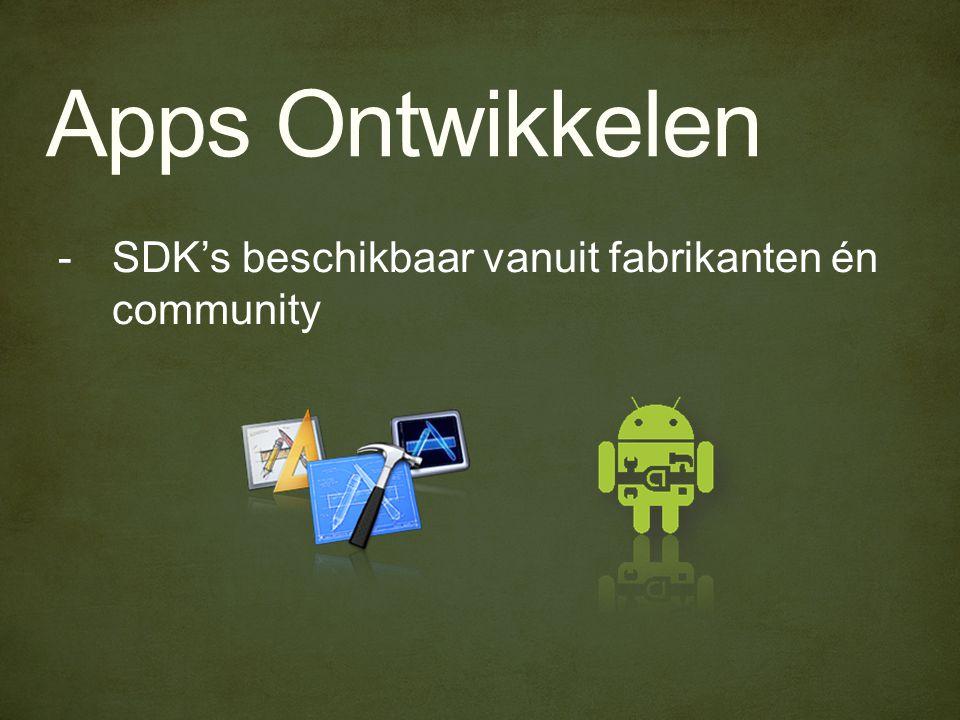 Apps Ontwikkelen -SDK's beschikbaar vanuit fabrikanten én community