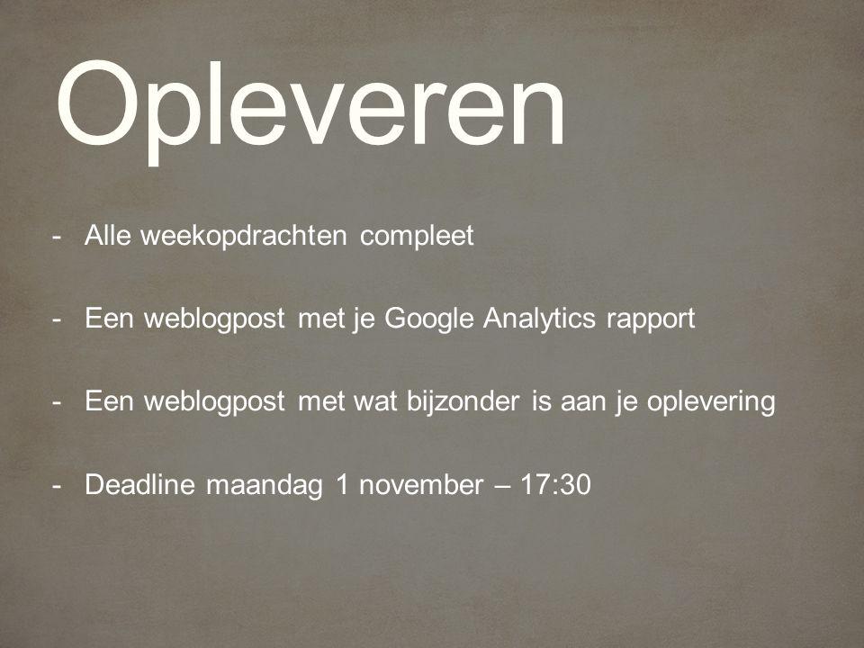 -Alle weekopdrachten compleet -Een weblogpost met je Google Analytics rapport -Een weblogpost met wat bijzonder is aan je oplevering -Deadline maandag 1 november – 17:30 Opleveren