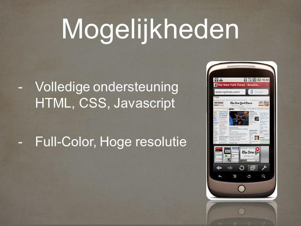 Mogelijkheden -Volledige ondersteuning HTML, CSS, Javascript -Full-Color, Hoge resolutie
