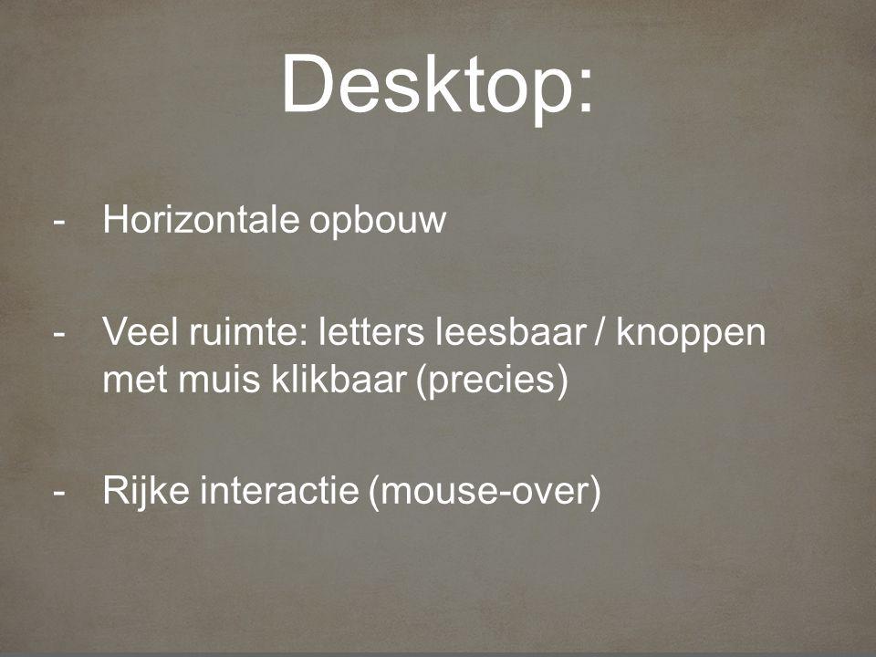 Desktop: -Horizontale opbouw -Veel ruimte: letters leesbaar / knoppen met muis klikbaar (precies) -Rijke interactie (mouse-over)