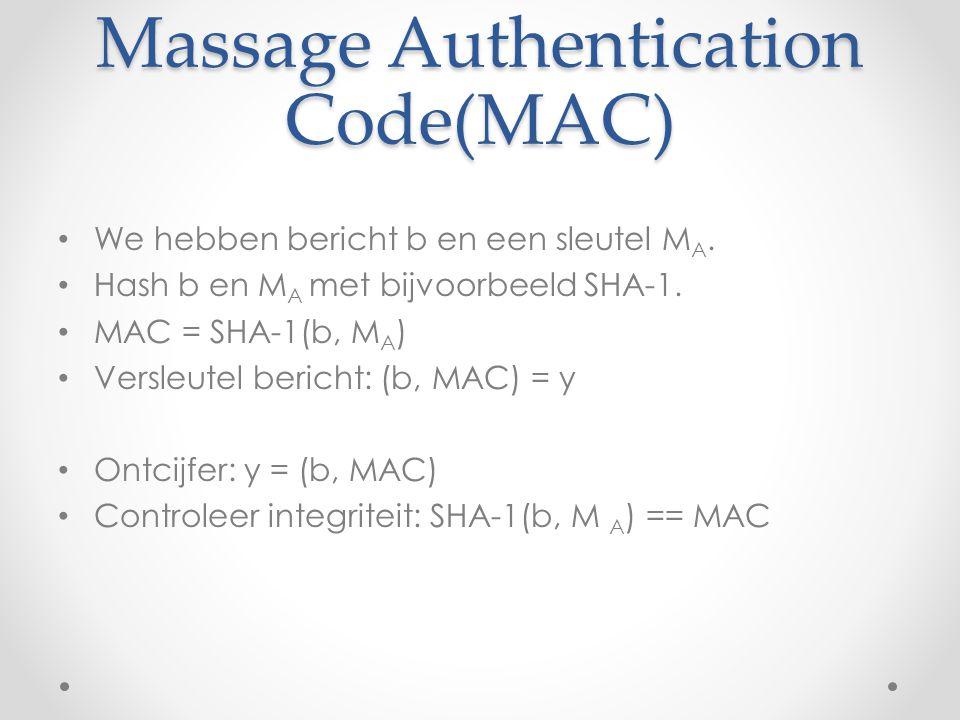 Massage Authentication Code(MAC) We hebben bericht b en een sleutel M A. Hash b en M A met bijvoorbeeld SHA-1. MAC = SHA-1(b, M A ) Versleutel bericht