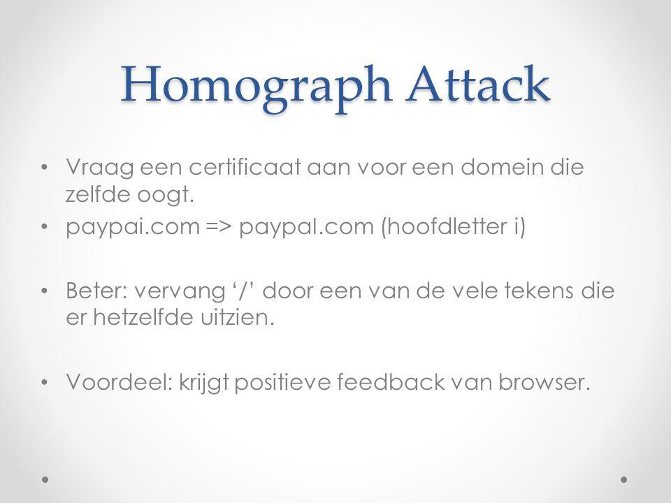 Homograph Attack Vraag een certificaat aan voor een domein die zelfde oogt. paypai.com => paypaI.com (hoofdletter i) Beter: vervang '/' door een van d
