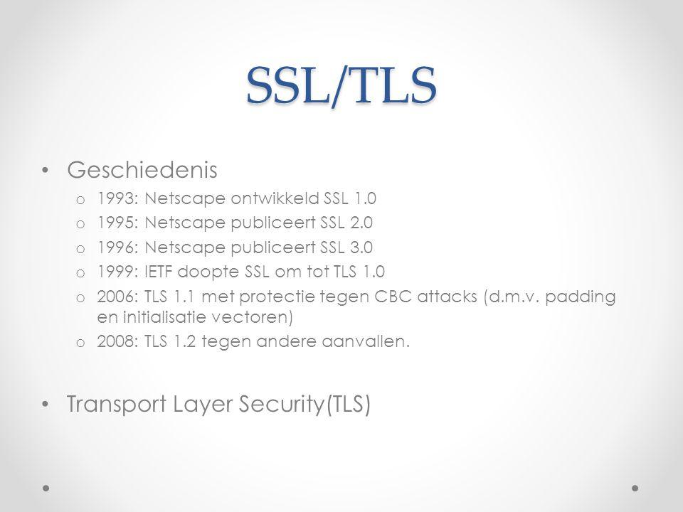 SSL/TLS Geschiedenis o 1993: Netscape ontwikkeld SSL 1.0 o 1995: Netscape publiceert SSL 2.0 o 1996: Netscape publiceert SSL 3.0 o 1999: IETF doopte S