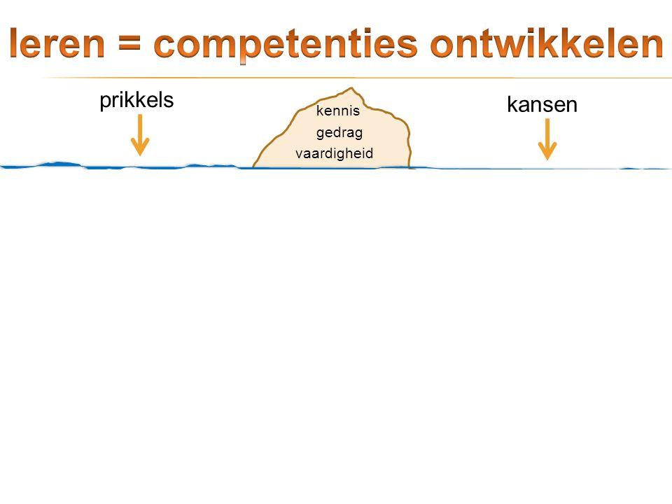 competentie vaardigheid gedrag kennis prikkels kansen leervermogen Niet het leren staat centraal, maar wel wat je doet met wat je geleerd hebt. Het le