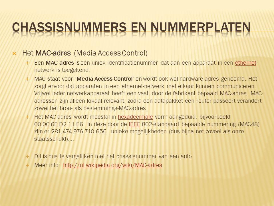  Het MAC-adres (Media Access Control)  Een MAC-adres is een uniek identificatienummer dat aan een apparaat in een ethernet- netwerk is toegekend.eth